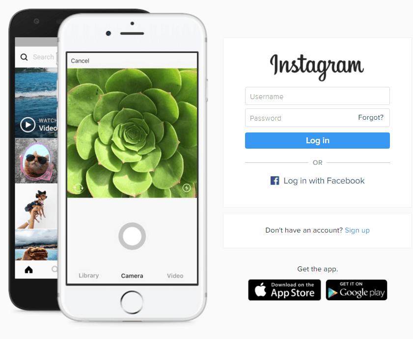 Startscherm Instagram