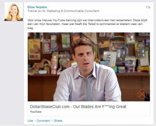 Video in LinkedIn status update vanuit persoonlijke profiel